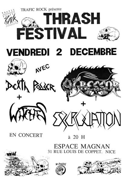 Witches Concert flyer Death Power, WITCHES , Excruciation, Agressor @ Thrash Festival MJC Magnan Nice (06)