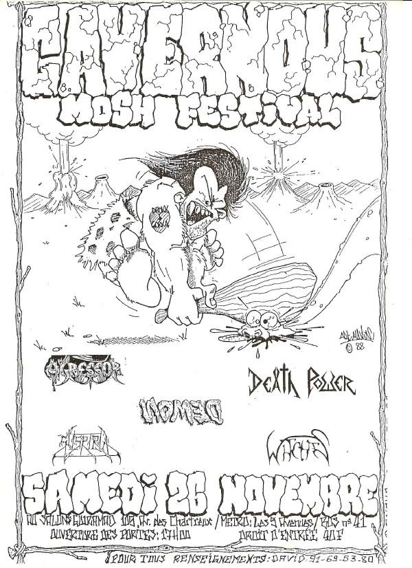 Witches Concert flyer DeathPower, Suspiria, WITCHES, Nomed, Agressor @ Cavernous Mosh Festival Salon Guirama Marseille (13)