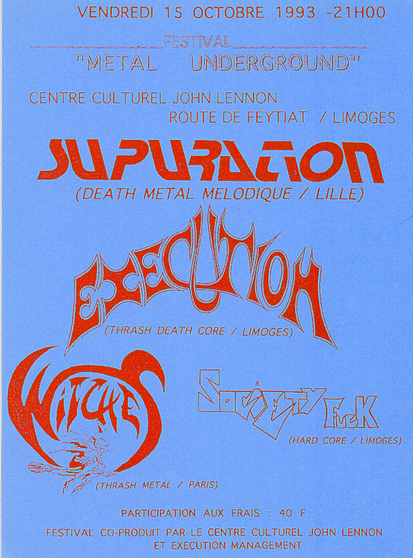 Witches Concert flyer Supuration ,Execution , WITCHES + Society Fuck @  Salle John Lennon Limoges (87)