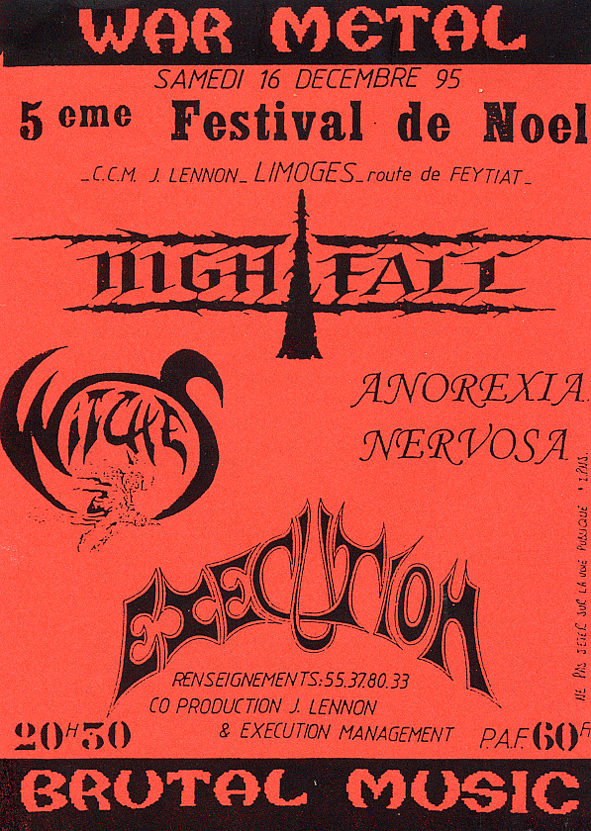 Witches Concert flyer NightFall(Grèce), Execution, Anorexia Nervosa + WITCHES @ 5e Festival de Noël CC John Lennon Limoges (87)
