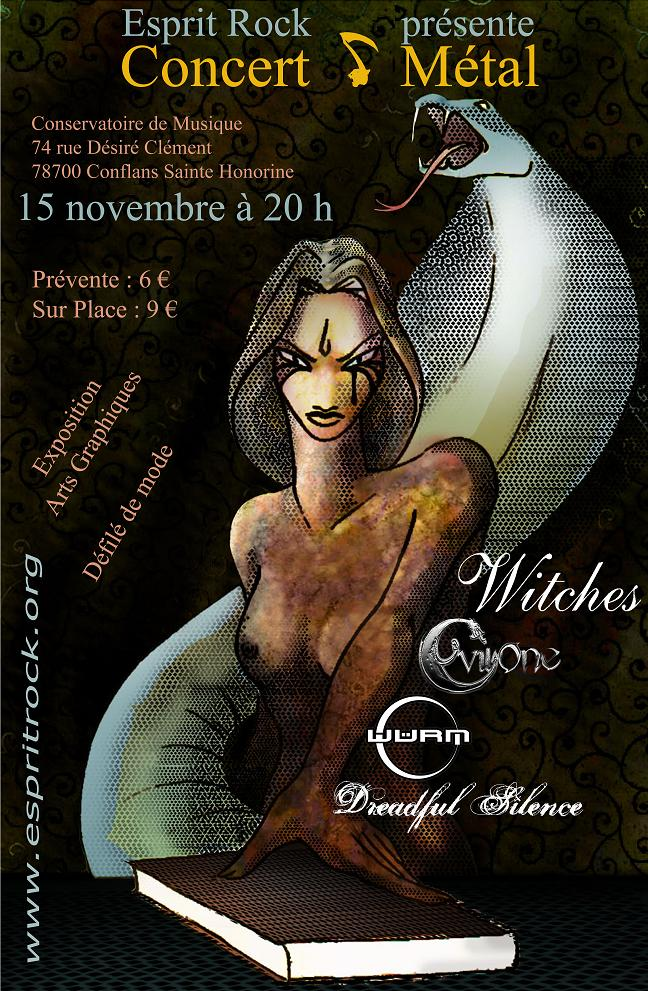 Witches Concert flyer WITCHES + Evil One, Würm & Dreadful Silence @  Conservatoire de Musique Conflans Sainte Honorine (78 - France)