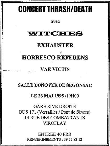 Witches Concert flyer WITCHES + Exhauster, Horesco Referens, VaeVictis @  Salle Dunoyer de Segonsac Viroflay (78)