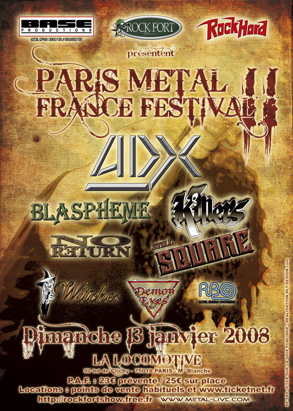 Witches Concert flyer ADX, Blaspheme, No Return, WITCHES, Killers, Still Square, Demon Eyes, RBO @  La Locomotive Paris,  France