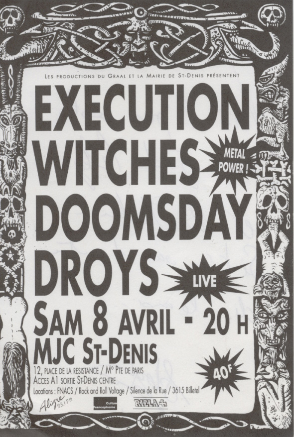 Witches Concert flyer Execution, Doomsday WITCHES + Droÿs @  MJC Saint Denis (93)