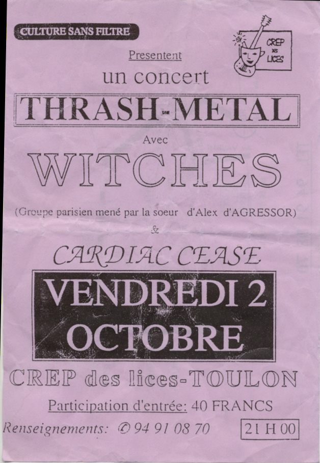 Witches Concert flyer WITCHES + Cardiac Cease @  CREP des Lices Toulon (83)